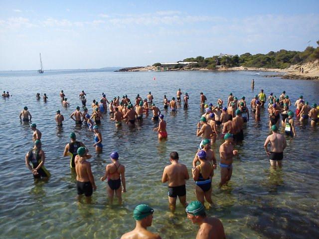 Envoltada de nedadors